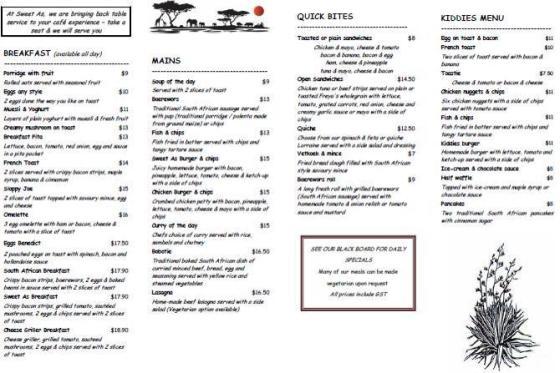 sweet as cafe new menu in brownsbay 2014